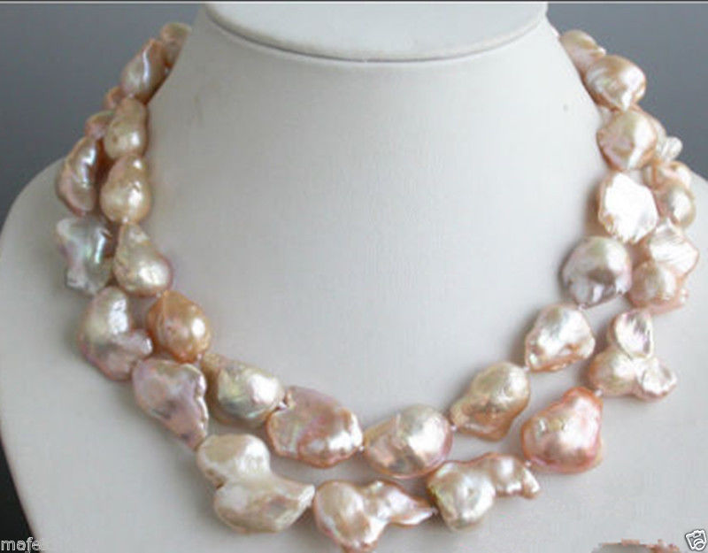 Large 15-23mm Pink Natural Baroque Freshwater Cultured Pearl Necklace 35 Long PNS248Large 15-23mm Pink Natural Baroque Freshwater Cultured Pearl Necklace 35 Long PNS248