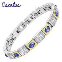 2015 Ladies Royal Blue Cat Eye Stones 18K Gold Silver Magnetic Bracelet Women Gift Jewelry Bangle