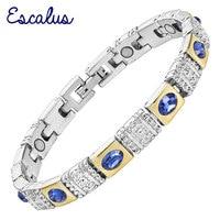 2015 Ladies Royal Blue Cat Eye Stones 18K Gold Silver Magnetic Bracelet Women Gift Jewelry Bangle