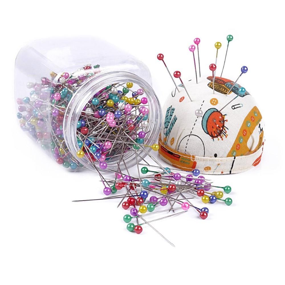 500 шт швейные булавки 36 мм заколки швейные булавки в Пластик коробка для хранения с игольницей для Пошив ювелирные украшения из цветов