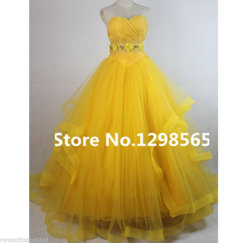 2017 Beauty and the Beast Costume Belle Princess Cosplay Floor-length Dress