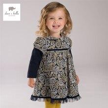 DB4078 дэйв белла осень девушки фея платье малыша мягкий платье детская одежда детская одежда ребенка ватные платье