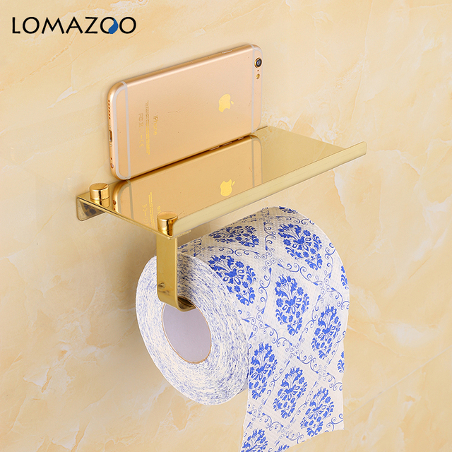 Concise Wall Mount Toilet Paper Holder Bathroom Accessories Fixture Stainless Steel Roll Paper Holders with Phone Shelf