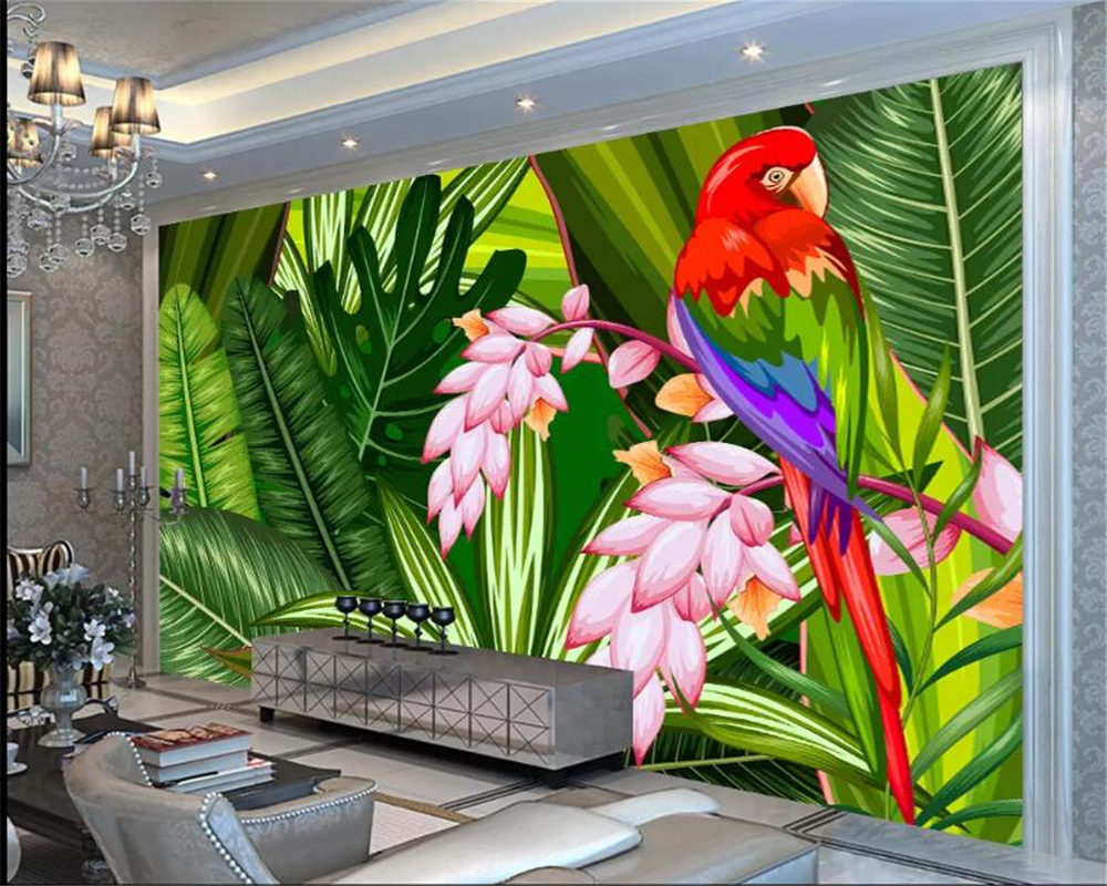 Us 8 85 41 Off Beibehang Custom 3d Wallpaper Hd Hand Drawn Tropical Rainforest Green Plants Nordic Parrot Birds And Flowers Photo Wallpaper In