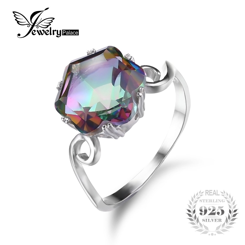 JewelryPalace 3 2ct Genuine Natural Rainbow Fire Mystic Topaz Solid 925 Sterling Silver Ring For Women