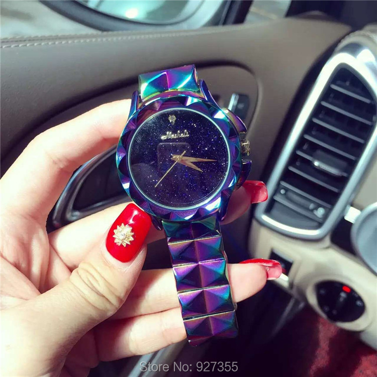 Excellent Qulaity Women Watch!Luxury Fashion Crystal Bracelet Watch Female Starry Sky Dress Watch Ladies Colorful Wristwatches недорого