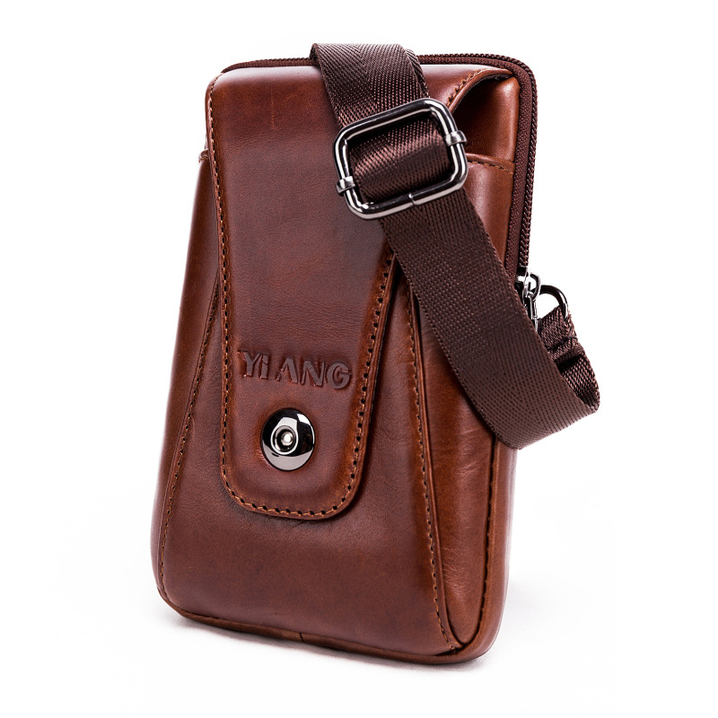 New Fashion Vintage Men Genuine Leather Flap Travel Waist Pack Male Mini Shoulder Bag Leisure Sling Bag Small Pocket Wholesale