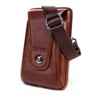 New Fashion Vintage Men Genuine Leather Flap Travel Waist Pack Male Mini Shoulder Bag Leisure Sling Bag Small Pocket Wholesale