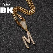 THE BLING KING Custom A thin row of zircon letters Chain Necklaces & Pendant For Men Women Full Iced Out Cubic Zircon Hiphop(China)