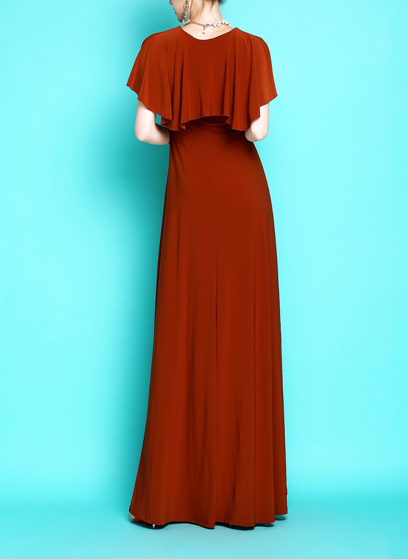 Plancher De Femmes Moulante Robes Long Extra Tenue Manteau Maxi Bohème longueur Robe Manches Taille Fête O Extensible Grande Cou E6181 MVqSzUp