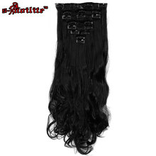 SNOILITE 8pcs/set 24inch Curly 18 Clips in Hair Extensions Natural Hair Styling Synthetic Hairpiece for human women Cosplay
