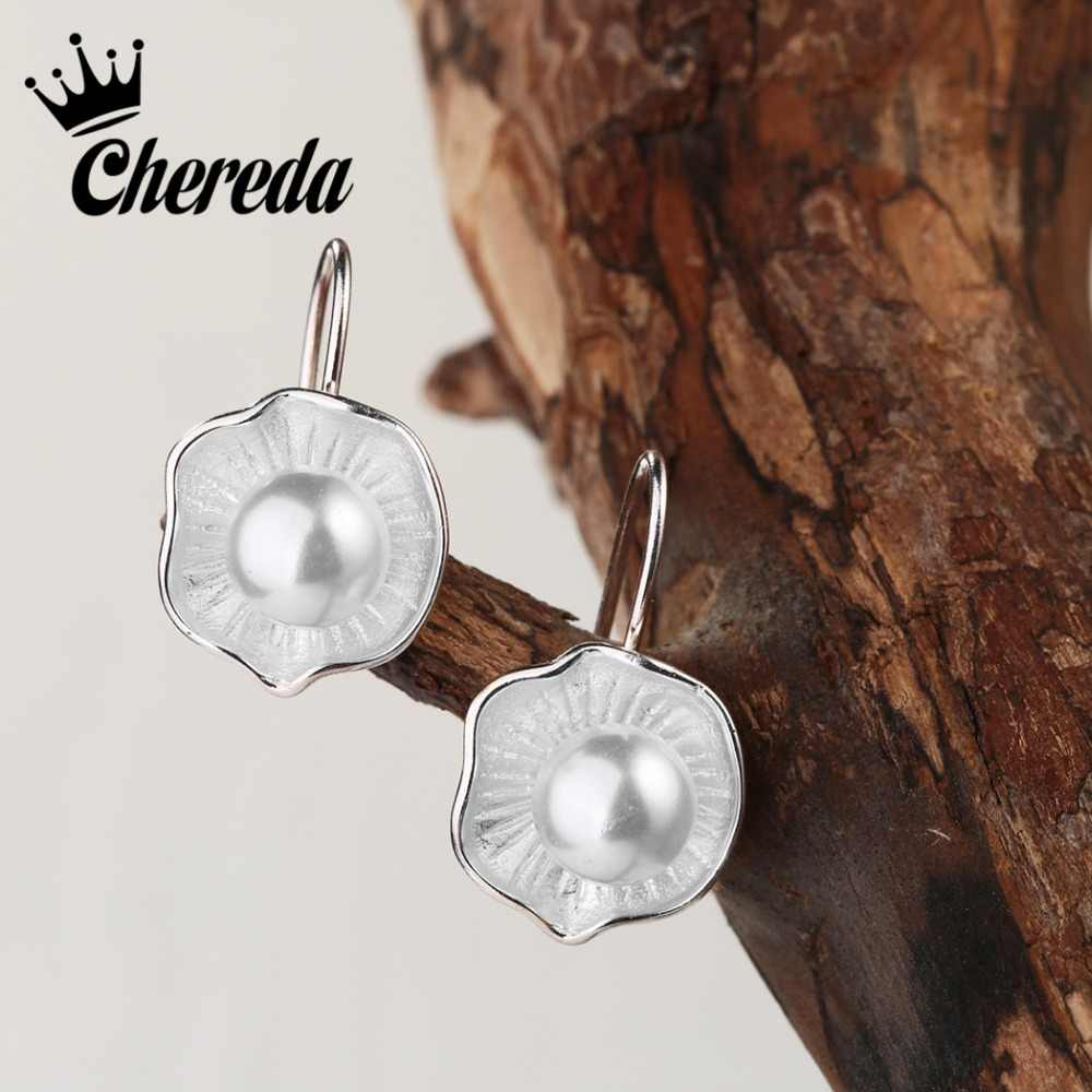 Chereda 2018 Super Deal Jewelry Fashion Pearl Earrings Flower Style Dangle Earrings Flower Romantic Pearl Earrings
