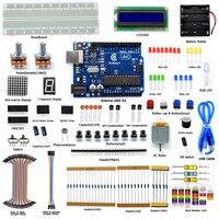 Adeept Eléctrica DIY Súper Starter Kit para Arduino UNO R3 con Guía LCD1602 Breadboard Freeshipping Libro auriculares diykit