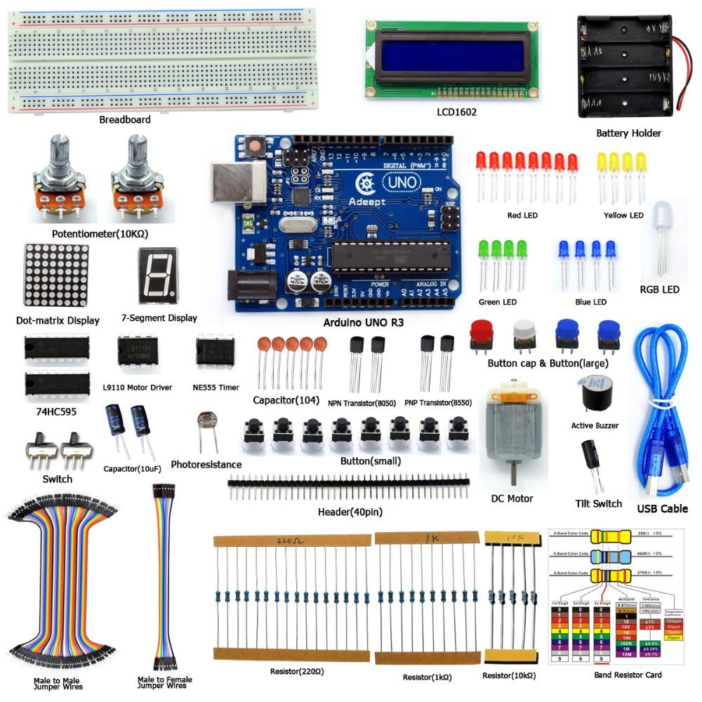 Adeept Eléctrica DIY Super Starter Kit Para Arduino UNO R3 Con Guía LCD1602 Placa Envío Gratuito Libro Auriculares Diykit