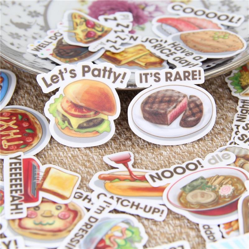 40 Stks/partij Voedsel Engels Zelfgemaakte Decoratieve Papier Sticker Sticker Voor Telefoon Auto Laptop Album Dagboek Rugzak Kids Speelgoed Stickers