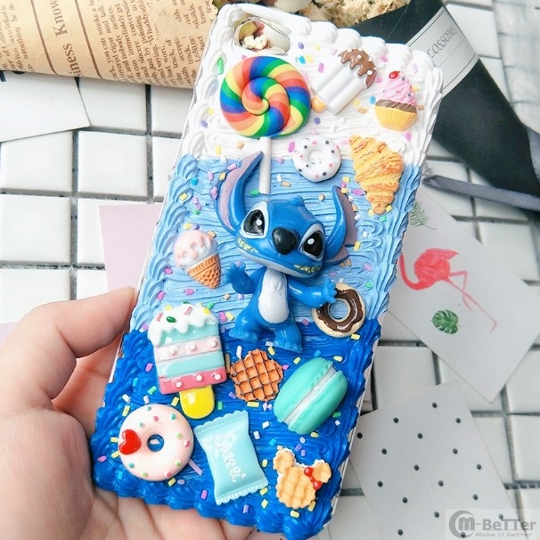 For Samsung note 10 plus DIY case note 8/note9 3D cartoon stitch phone cover Galaxy s8/9/10+ s6/s7edge handmade creamy case gift