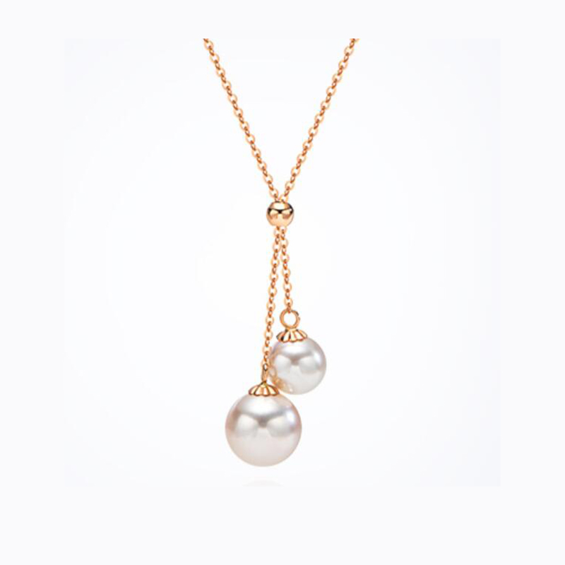 Sinya Pure 18k gold necklace with Natural Round Pearls pendant Au750 Trendy fine jewelry for ladies women girls best gift Hot