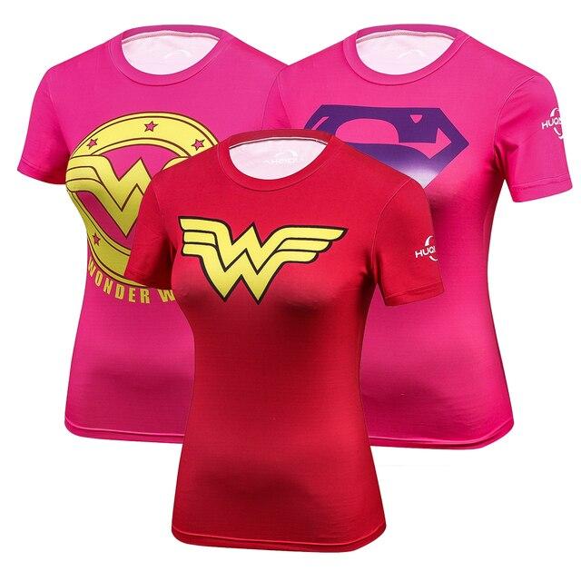פלא גיבור אישה חולצה דחיסת גרביונים נשים של הדפסת חולצה יבש מהיר קצר שרוול חולצות כושר נשים בגדים