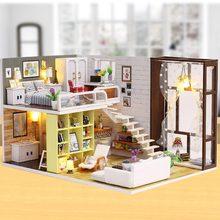 IiE SCHAFFEN Puppenhaus K028 Vertraglich Stadt Miniatur DIY Kit Mit Lichter Und Staub Abdeckung