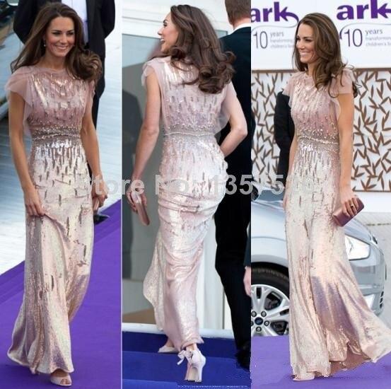 Hot Princess Pink Bateau Long Evening Prom Dress Tulle Beaded Floor ...