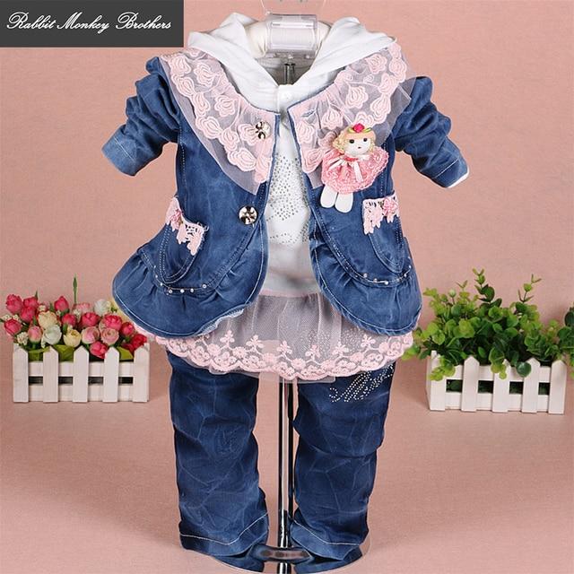 bef923182a1f7 RMBkids Bébé fille vêtements Filles denim dentelle trois-pièce costume pour bébé  fille outfit 0
