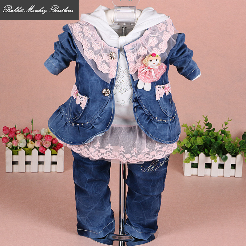 RMBkids Baby girl clothes Girls denim lace three-piece suit for baby girl outfit 0-3 years old infants and young children