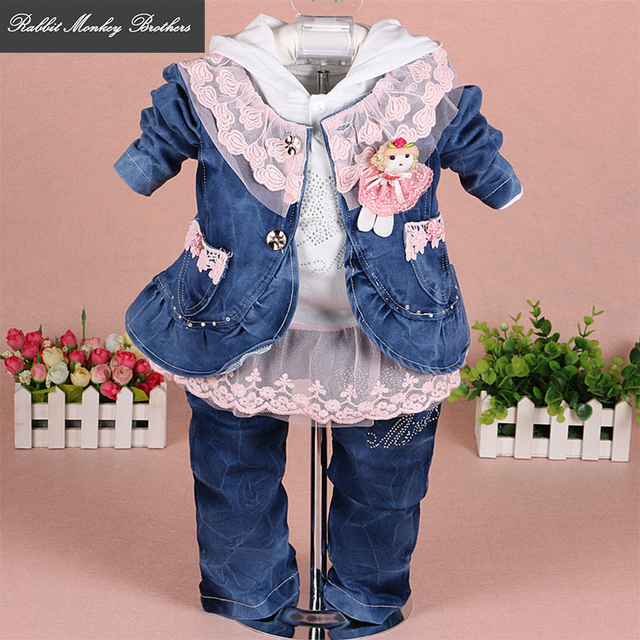250c490a5792 RMBkids Baby girl clothes Girls denim lace three-piece suit for baby girl  outfit 0