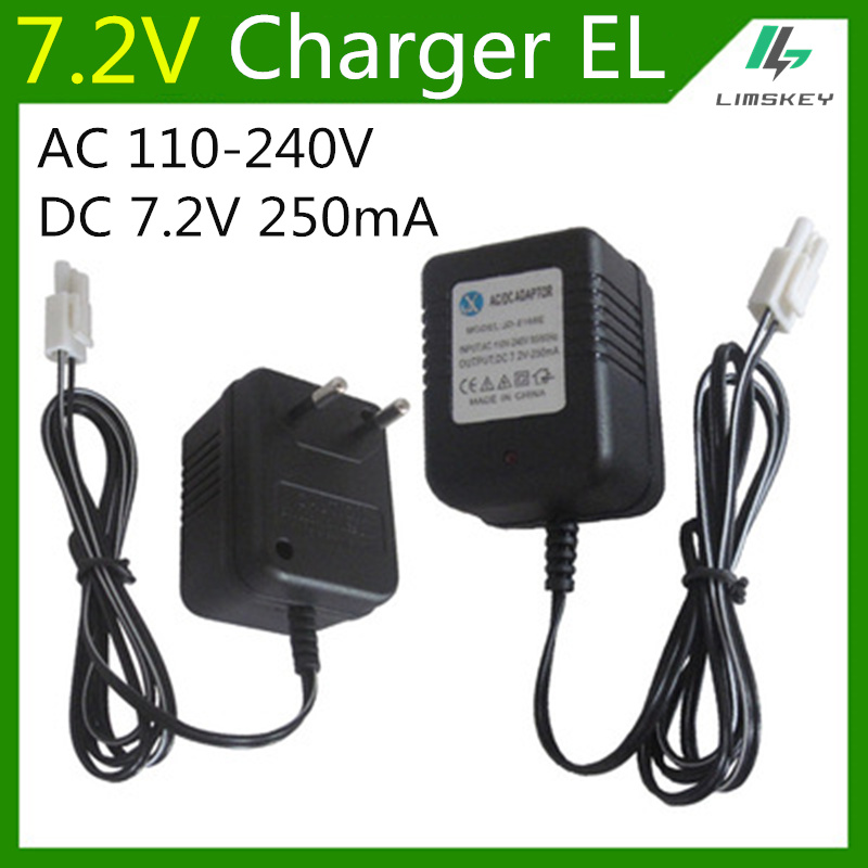 7.2V 250mA battery charger For 7.2 V AA NiCd and NiMH battery charger For RC toy car EL plug AC 110-240V DC 7.2V 250mA(China)