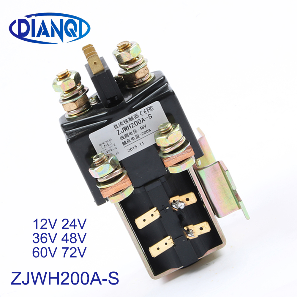 1NO 1NC 12V 24V 36V 48V 60V 72V 200A DC Contactor ZJWH200A-S for forklift handling drawing grab wehicle car winch PUMP MOTOR