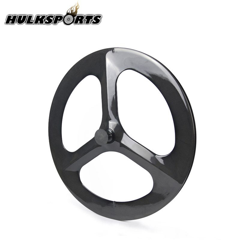 Cheap Carbon tri spoke wheel 700C carbon road/track/TT Clincher rim wheel carbon bicycle wheelset with hub Front/Rear Wheel