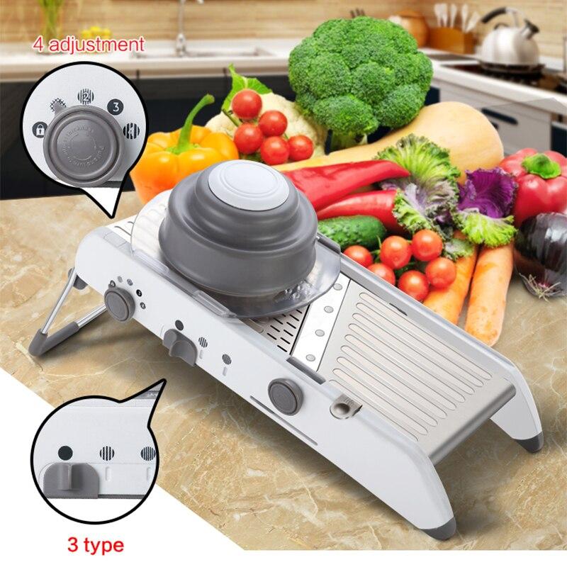LEKOCH Parutan Bawang Manual Sayuran Cutter Slicer Mandolin Julienne Pemotong Kentang Alat Sayuran Buah Aksesoris Dapur