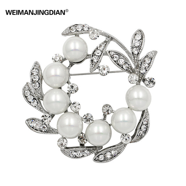 WEIMANJINGDIAN Brand Shinning Silver Color Plated Floral Wreath Brooch Pins with Simulated Pearls for Women