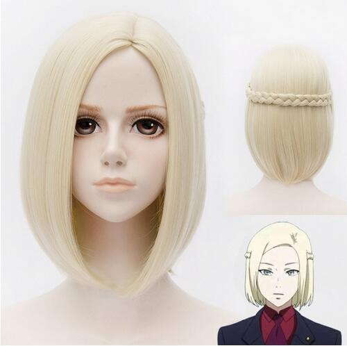 New!! Anime Tokyo Ghoul Mado akira Cosplay Wig Short Blonde Hair Synthetic Wigs with Braid. Free delivery