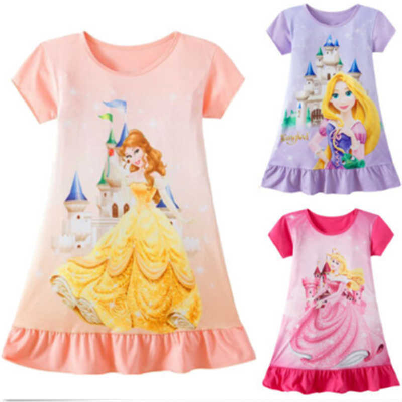 Cute Cartoon Baby Girls Dress Rapunzel Aurora Belle Aurora Princess Printed Dresses Sleeveless Summer Dress for Girl Clothes