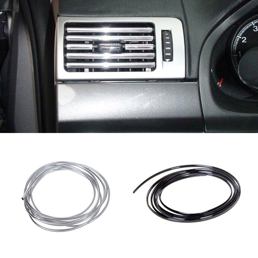 Car-Styling Interior Strips Air Conditioner Outlet Vent Grille Chrome Trim Decoration Strip Brand Stickers Silver Black 1-3M