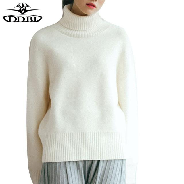 Eccezionale Donne maglione di lana bianco dolcevita pullover maglione caldo  RN96