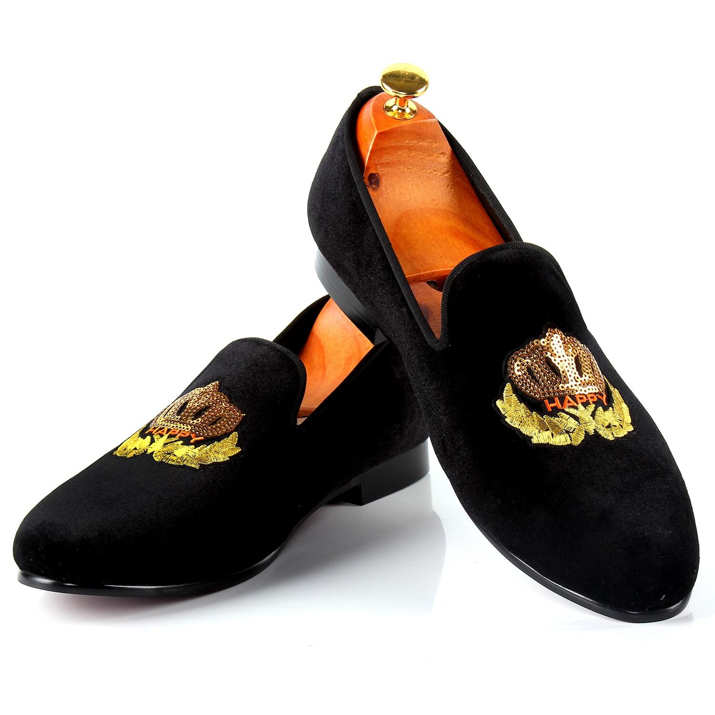 6c581650b93f3e Harpelunde Men Classic Wedding Shoes Motif Badge Green Velvet Flat ...