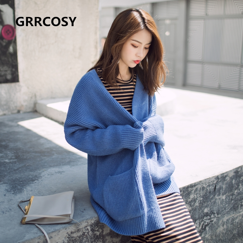 GRRCOSY Maternity Knit Coats Clothes Autumn Winter Pregnant Women Outerwear Long Thicker Loose Coat Women's Sweaters loose knit scalloped hem dolman jumper
