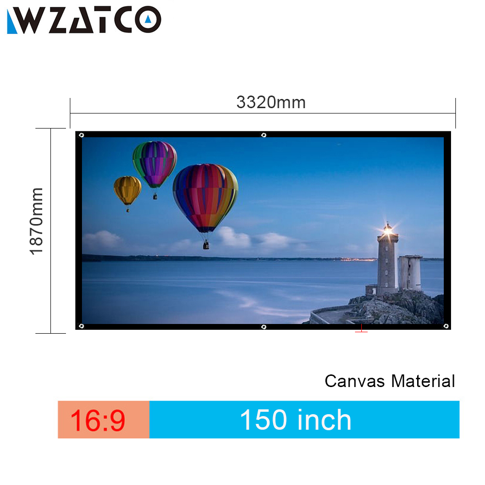 WZATCO 150inch Movie Foldable HD Projection Projector Screen with Canvas Material 4:3 Or 16:9 Optional for Home Theater Screen newpal 150 inch projector screen 4 3 16 9 foldable projector screen for outdoor and home cinema movies