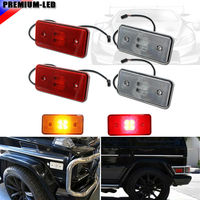 4 Clear Lens Front Red Lens Rear LED Side Marker Lights SET For 2002 2014