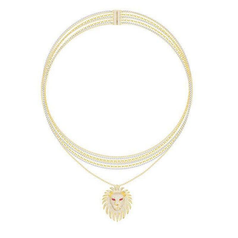 Monaco Design Luxus 925 Sterling Silber Gold Farbe Cubic Zirkon Ägypten Lion Anhänger Halskette Multilayer Kette für Frauen Schmuck-in Anhänger-Halsketten aus Schmuck und Accessoires bei  Gruppe 1