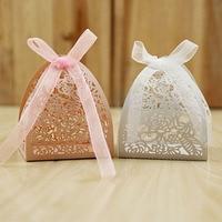 Cubo branco Rosa Fontes Do Partido Do Casamento de Corte A Laser Saco Do Presente Oca-esculpido Projeto Atmosfera Simples Kid Estudante