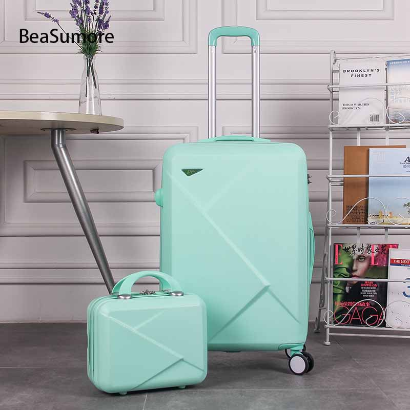 BeaSumore Women Korean Rolling Luggage Sets Spinner Handle Suitcase Wheels Cute High Capacity Trolley 20 Inch Men Cabin Trunk