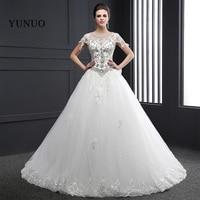 Lace Beading Bow Wedding Dress 2016 Elegant Robe Mariage Charming Crystals Long Bridal Dress White Vestido