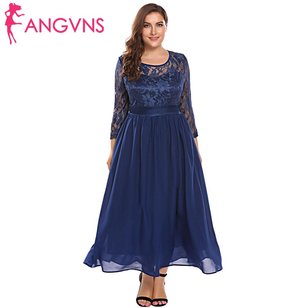 ANGVNS Plus Size Dress Hollow Lace Swing Height Plus Dress