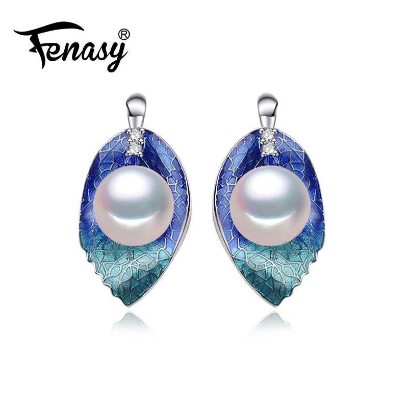 FENASY Pearl Jewelry earrings, natural Pearl leaf flower earrings women,wedding jewelry love fashion party earrings jewelry box