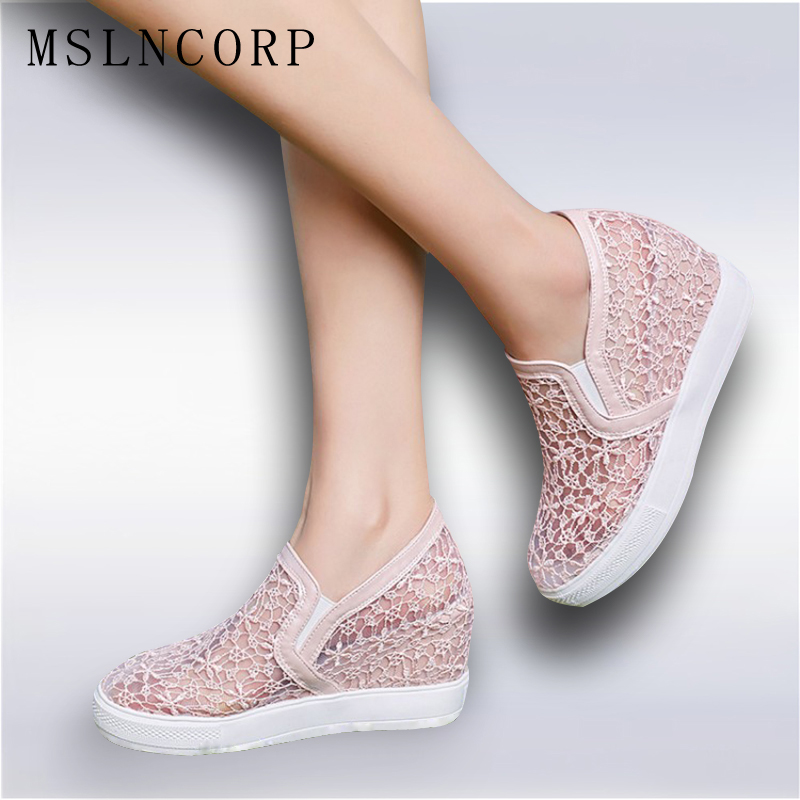 Plus size 34-45 Summer Women Sandals Lace Hollow Floral Casual Shoes Woman Breathable Platform  Increased Internal Loafers Shoes phyanic 2017 gladiator sandals gold silver shoes woman summer platform wedges glitters creepers casual women shoes phy3323