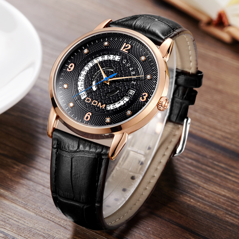 DOM fashion leather sports quartz watch for man military chronograph wrist watches men army style 2020 free shipping M-45GL-7M
