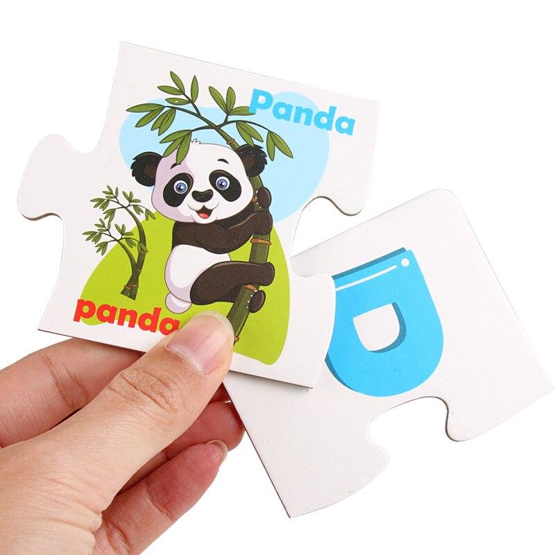 Candywood 2018 nouveaux enfants lettres anglaises Alphabet Puzzle jeu cartes éducatifs apprentissage jouets lettre correspondant jeu avec boîte - 5