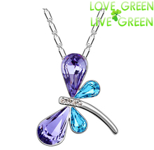 free shipping promotion charm girl wholesales 18k gp Austria Crystal dragonfly butterfly Pendant Necklace fashion jewelry 80130